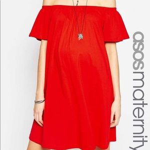 NWT! ASOS Maternity Off-Shoulder Dress - Red/US 2